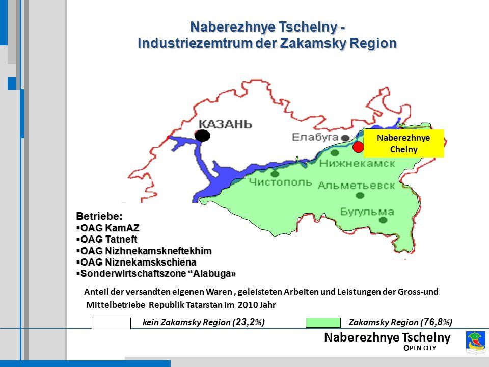 Naberezhnye Tschelny - Industriezemtrum der Zakamsky Region Betriebe:  OAG KamAZ  OAG Tatneft  OAG Nizhnekamskneftekhim  OAG Niznekamskschiena  S