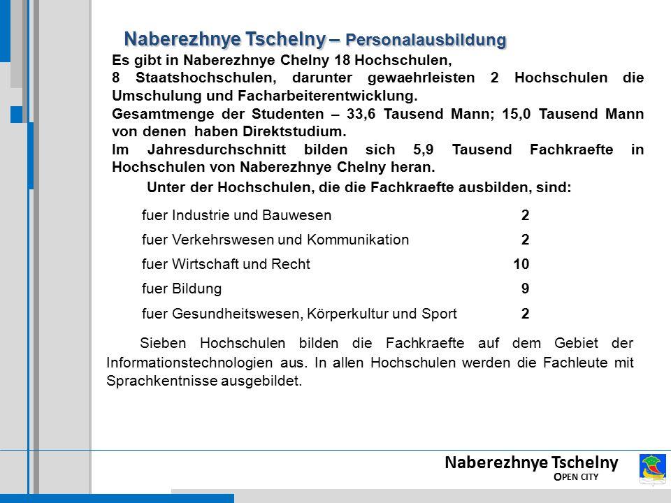 Naberezhnye Tschelny – Personalausbildung Naberezhnye Tschelny – Personalausbildung Sieben Hochschulen bilden die Fachkraefte auf dem Gebiet der Informationstechnologien aus.
