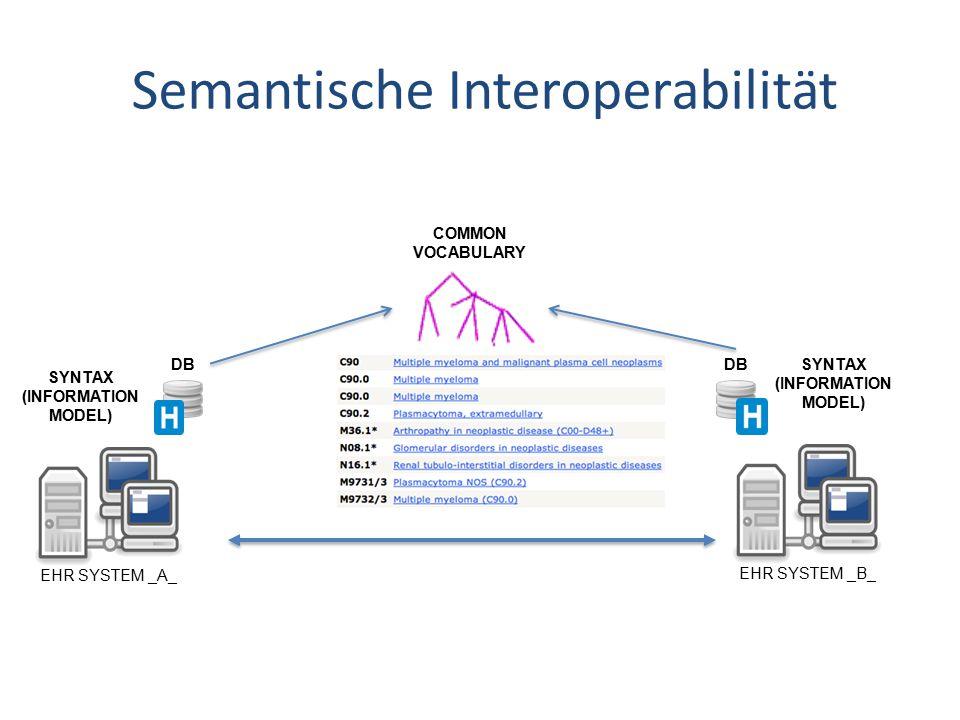 Semantische Interoperabilität COMMON VOCABULARY EHR SYSTEM _B_ DB SYNTAX (INFORMATION MODEL) EHR SYSTEM _A_ SYNTAX (INFORMATION MODEL) DB