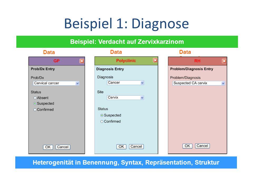 Beispiel 1: Diagnose Beispiel: Verdacht auf Zervixkarzinom Heterogenität in Benennung, Syntax, Repräsentation, Struktur
