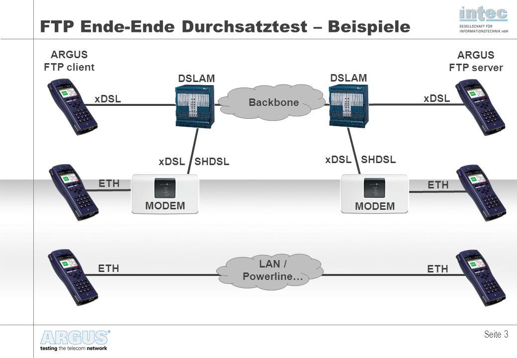 FTP Ende-Ende Durchsatztest – Beispiele Seite 3 xDSL ARGUS FTP client ARGUS FTP server DSLAM xDSL ETH MODEM xDSL SHDSL ETH LAN / Powerline… Backbone