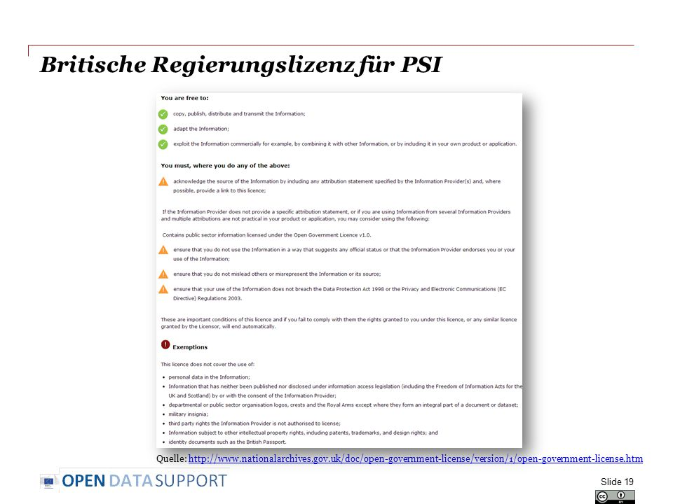 Britische Regierungslizenz für PSI Slide 19 Quelle: http://www.nationalarchives.gov.uk/doc/open-government-license/version/1/open-government-license.htmhttp://www.nationalarchives.gov.uk/doc/open-government-license/version/1/open-government-license.htm