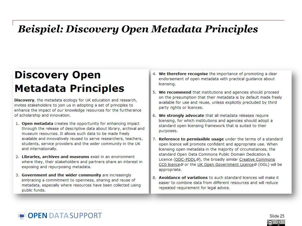 Beispiel: Discovery Open Metadata Principles Slide 25