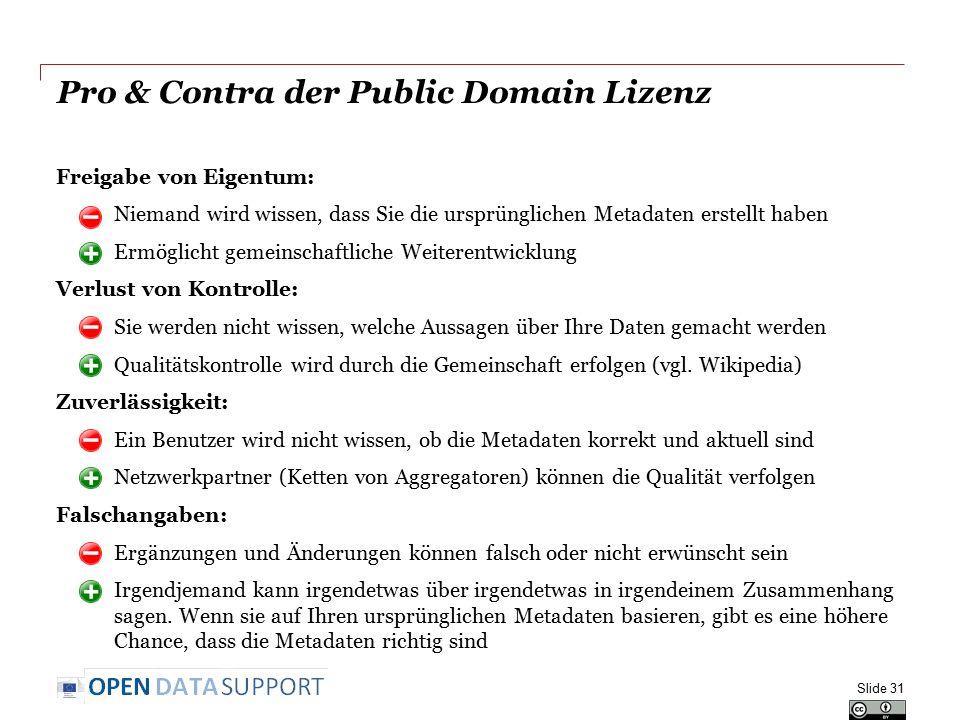 Pro & Contra der Public Domain Lizenz Freigabe von Eigentum: o Niemand wird wissen, dass Sie die ursprünglichen Metadaten erstellt haben o Ermöglicht gemeinschaftliche Weiterentwicklung Verlust von Kontrolle: o Sie werden nicht wissen, welche Aussagen über Ihre Daten gemacht werden o Qualitätskontrolle wird durch die Gemeinschaft erfolgen (vgl.