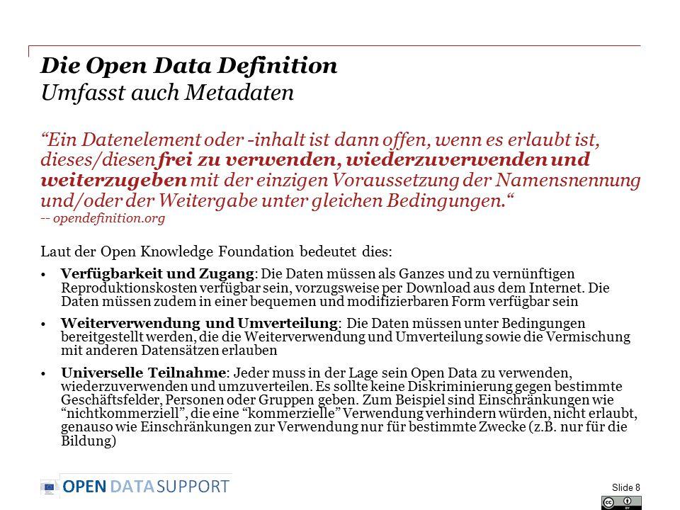 Schlussfolgerungen Daten und Metadaten sollten mit einer expliziten Lizenz geliefert werden, so dass Wiederverwender wissen, was sie mit den Metadaten und Daten tun können und wie sie eine maximale Interoperabilität ermöglichen können  Metadaten sollten so offen wie möglich gemacht werden, idealerweise CC Zero oder Public Domain Dedication, um Netzwerk- Effekte zu ermöglichen  Daten sollten unter einer Lizenz, die einen angemessenen Schutz ermöglicht (aber nicht mehr Schutz als nötig) freigegeben werden Und vergessen Sie nicht...