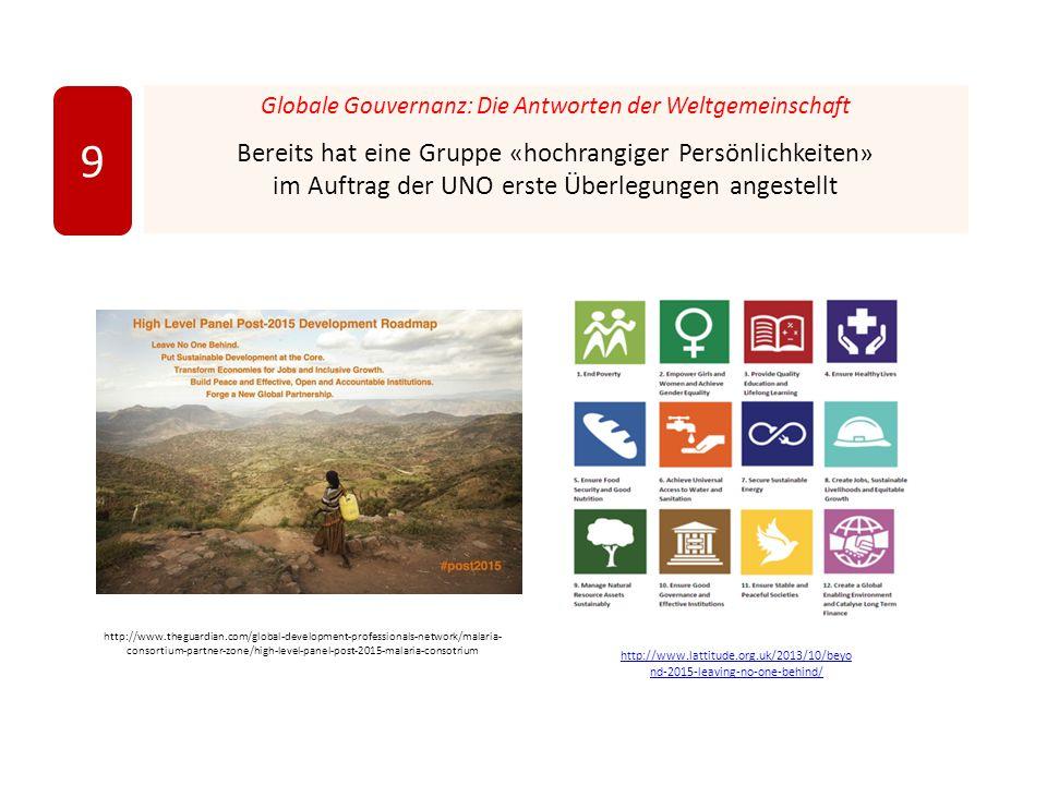 Globale Gouvernanz: Die Antworten der Weltgemeinschaft Bereits hat eine Gruppe «hochrangiger Persönlichkeiten» im Auftrag der UNO erste Überlegungen angestellt 9 http://www.theguardian.com/global-development-professionals-network/malaria- consortium-partner-zone/high-level-panel-post-2015-malaria-consotrium http://www.lattitude.org.uk/2013/10/beyo nd-2015-leaving-no-one-behind/