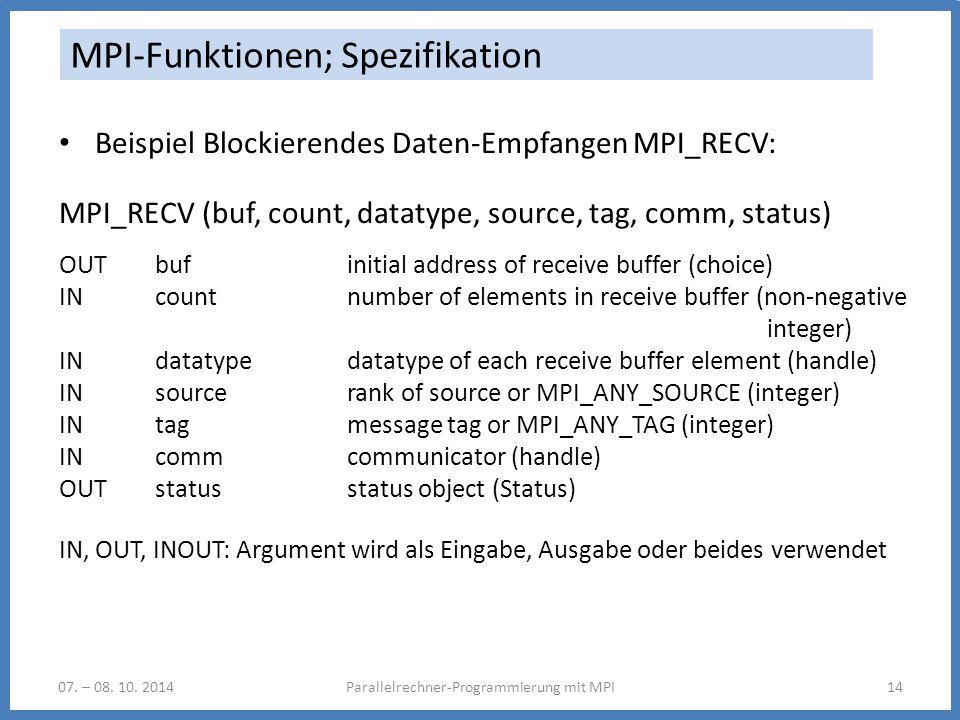 07. – 08. 10. 2014Parallelrechner-Programmierung mit MPI14 MPI-Funktionen; Spezifikation Beispiel Blockierendes Daten-Empfangen MPI_RECV: MPI_RECV (bu