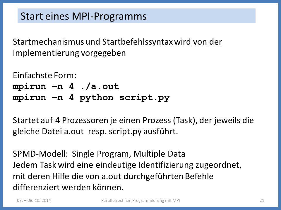 07. – 08. 10. 2014Parallelrechner-Programmierung mit MPI21 Start eines MPI-Programms Startmechanismus und Startbefehlssyntax wird von der Implementier