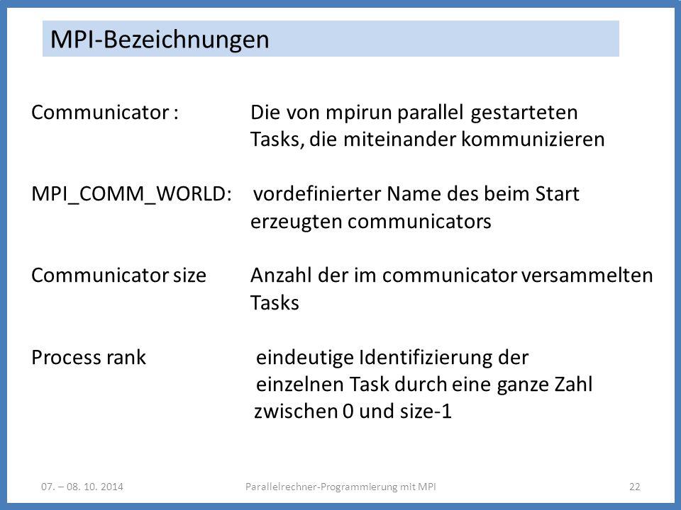 07. – 08. 10. 2014Parallelrechner-Programmierung mit MPI22 MPI-Bezeichnungen Communicator : Die von mpirun parallel gestarteten Tasks, die miteinander