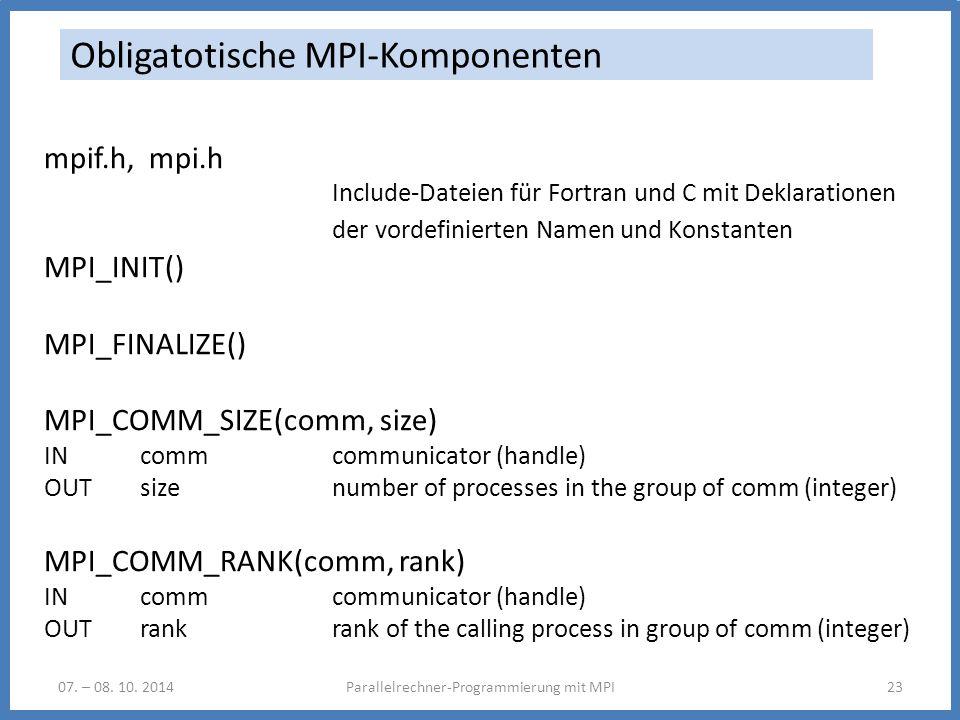 07. – 08. 10. 2014Parallelrechner-Programmierung mit MPI23 Obligatotische MPI-Komponenten mpif.h, mpi.h Include-Dateien für Fortran und C mit Deklarat