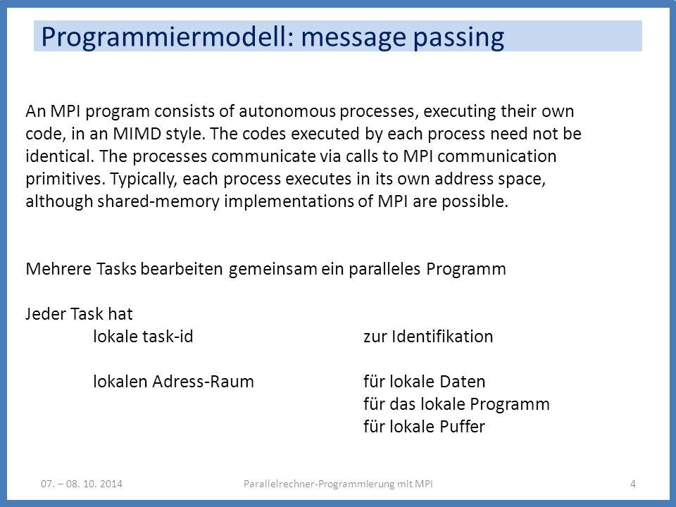 Programmiermodell: message passing 07. – 08. 10. 2014Parallelrechner-Programmierung mit MPI4 An MPI program consists of autonomous processes, executin
