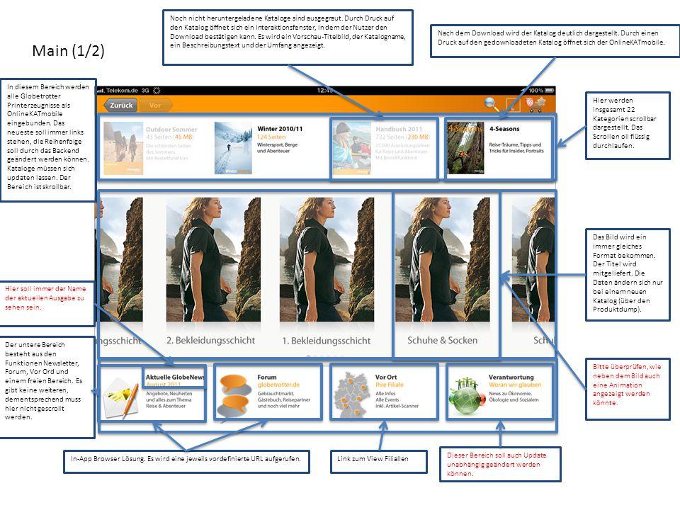 Main (1/2) Noch nicht heruntergeladene Kataloge sind ausgegraut. Durch Druck auf den Katalog öffnet sich ein Interaktionsfenster, in dem der Nutzer de