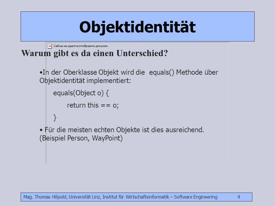 Mag. Thomas Hilpold, Universität Linz, Institut für Wirtschaftsinformatik – Software Engineering 4 In der Oberklasse Objekt wird die equals() Methode