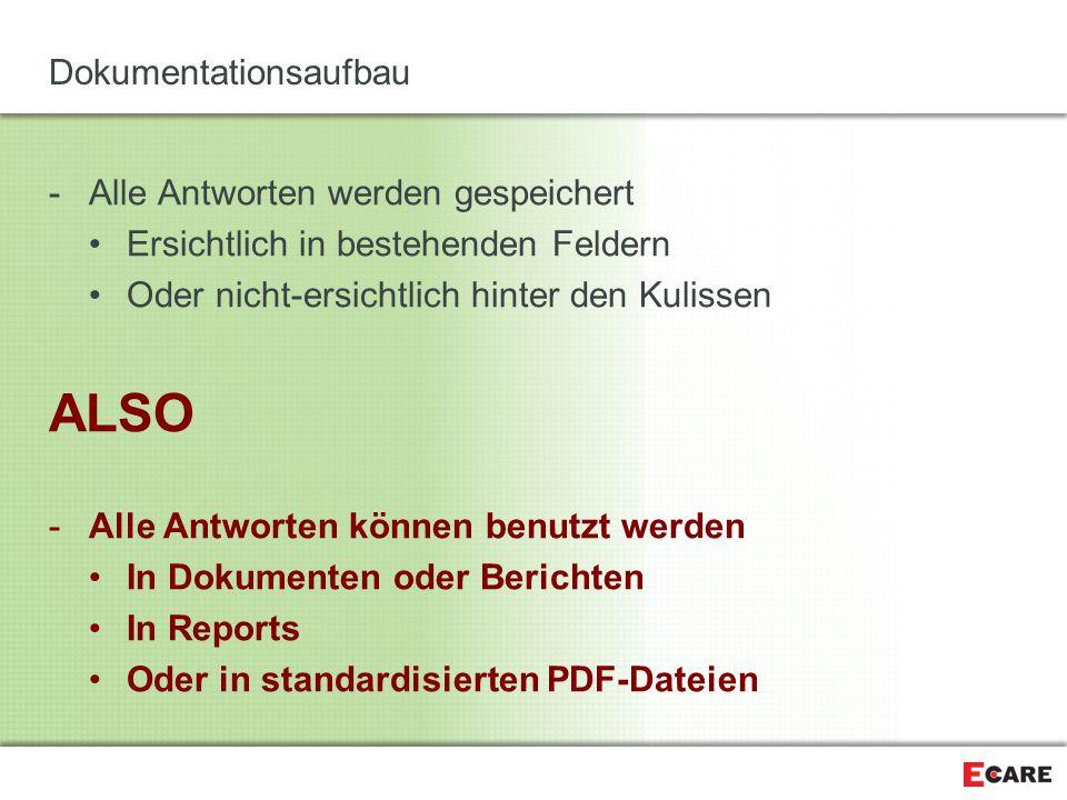 Dokumentationsaufbau -Alle Antworten werden gespeichert Ersichtlich in bestehenden Feldern Oder nicht-ersichtlich hinter den Kulissen ALSO -Alle Antwo