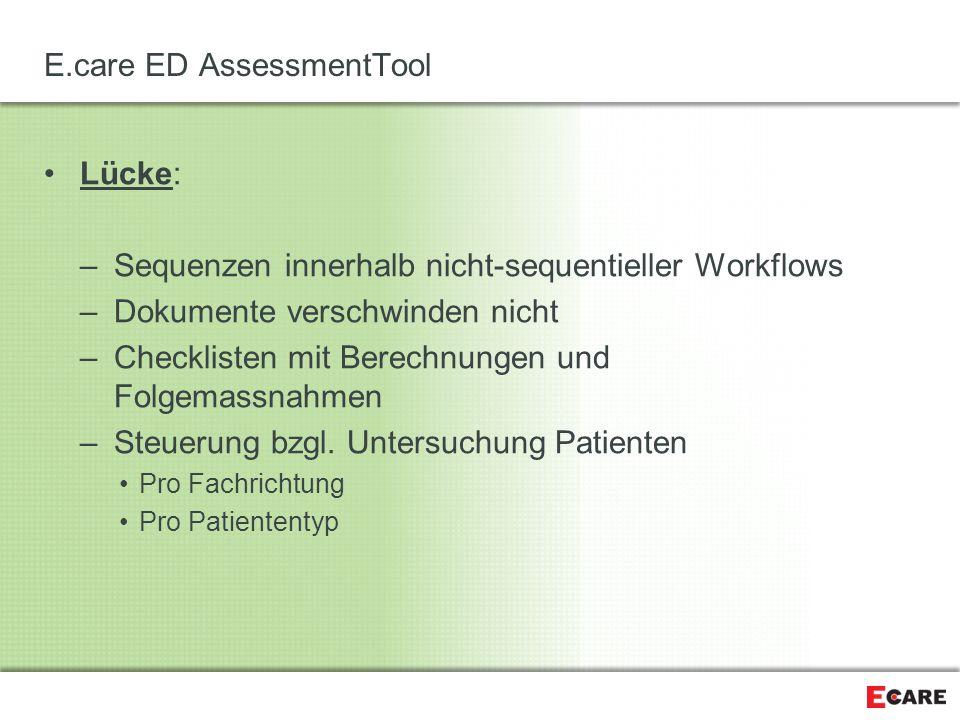 E.care ED AssessmentTool Lücke: –Sequenzen innerhalb nicht-sequentieller Workflows –Dokumente verschwinden nicht –Checklisten mit Berechnungen und Fol