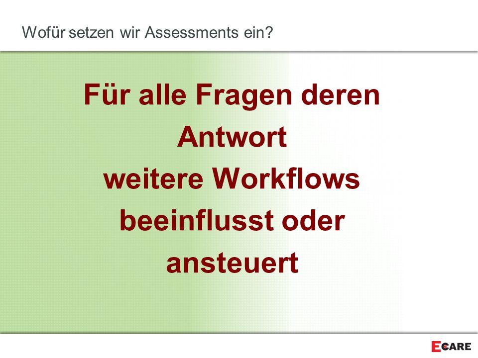 Wofür setzen wir Assessments ein? Für alle Fragen deren Antwort weitere Workflows beeinflusst oder ansteuert