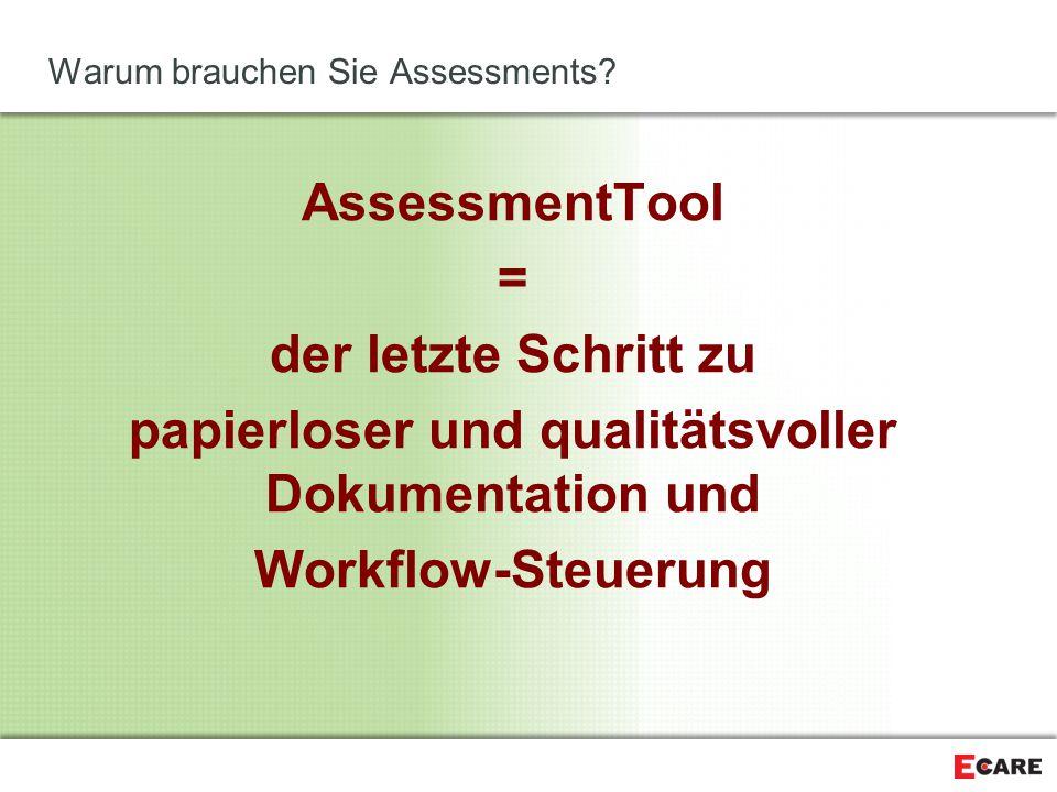 Warum brauchen Sie Assessments? AssessmentTool = der letzte Schritt zu papierloser und qualitätsvoller Dokumentation und Workflow-Steuerung