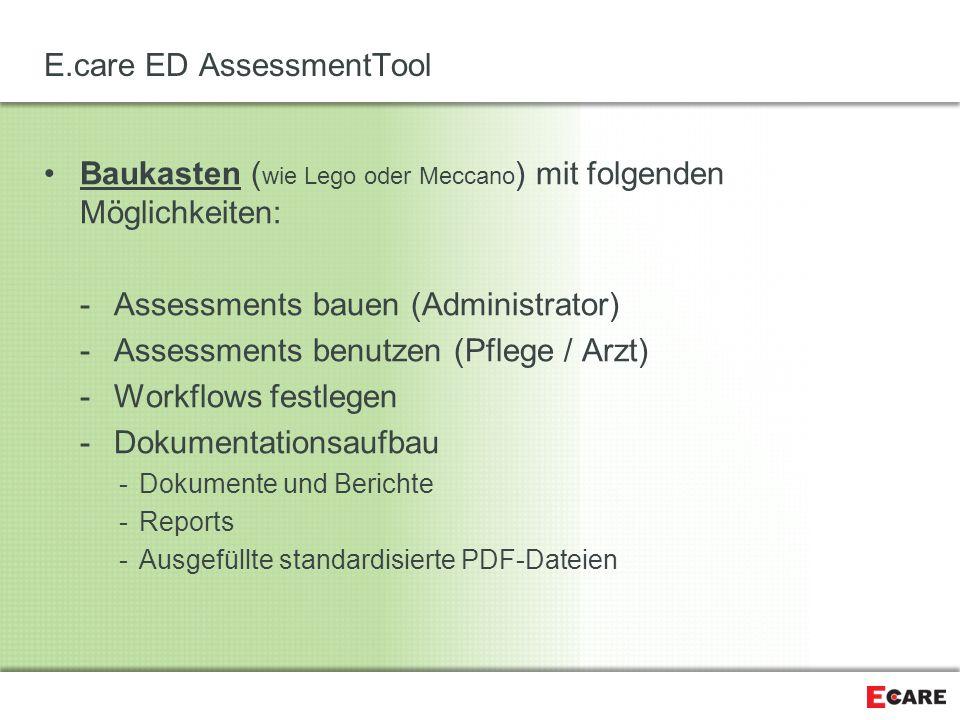 E.care ED AssessmentTool Baukasten ( wie Lego oder Meccano ) mit folgenden Möglichkeiten: -Assessments bauen (Administrator) -Assessments benutzen (Pf