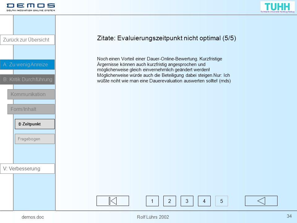 demos.doc Rolf Lührs 2002 34 Zitate: Evaluierungszeitpunkt nicht optimal (5/5) Noch einen Vorteil einer Dauer-Online-Bewertung. Kurzfristige Ärgerniss