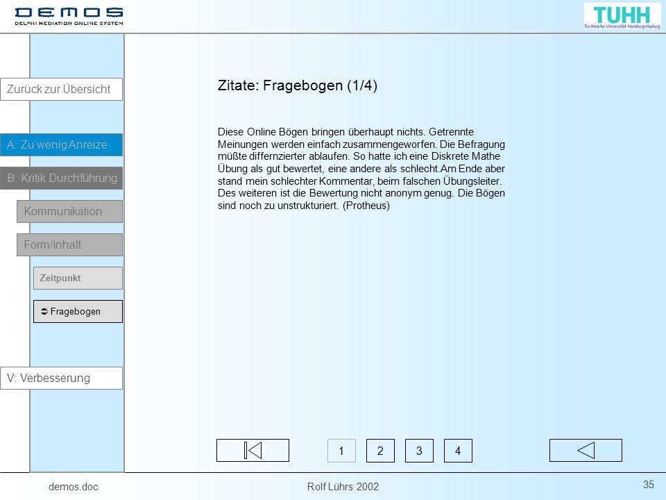 demos.doc Rolf Lührs 2002 35 Zitate: Fragebogen (1/4) Diese Online Bögen bringen überhaupt nichts. Getrennte Meinungen werden einfach zusammengeworfen