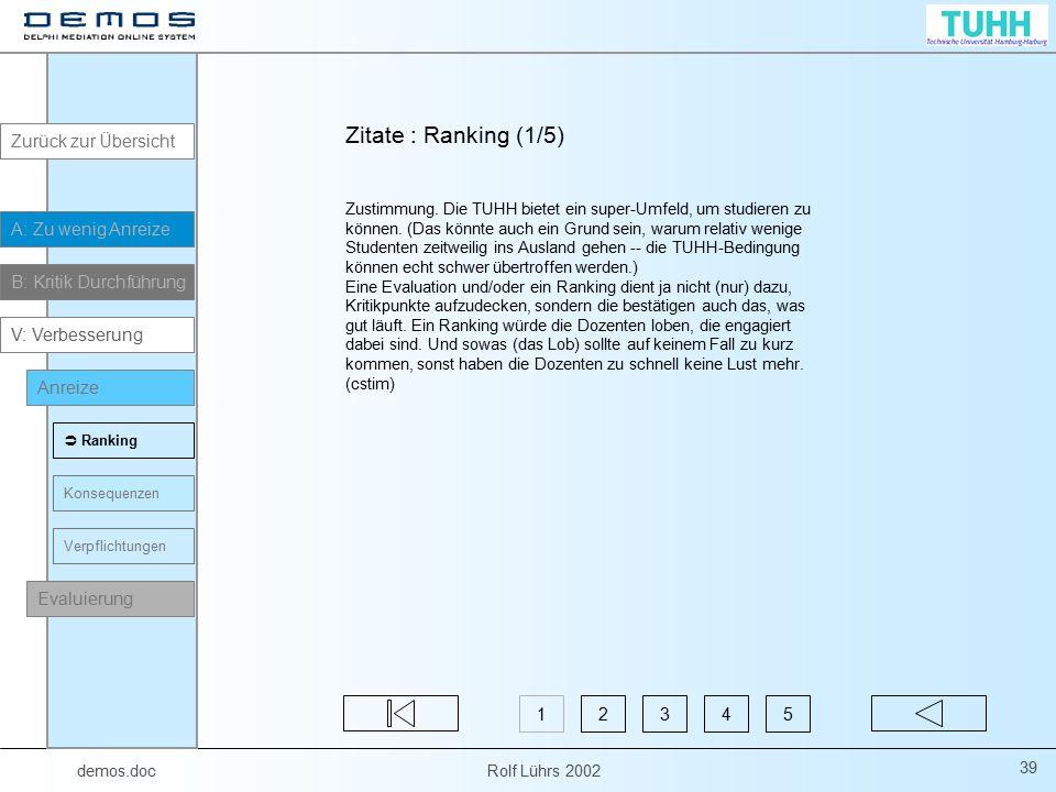 demos.doc Rolf Lührs 2002 39 Zitate : Ranking (1/5) Zustimmung. Die TUHH bietet ein super-Umfeld, um studieren zu können. (Das könnte auch ein Grund s