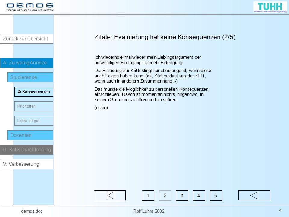 demos.doc Rolf Lührs 2002 35 Zitate: Fragebogen (1/4) Diese Online Bögen bringen überhaupt nichts.