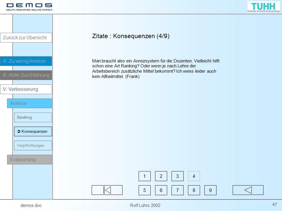demos.doc Rolf Lührs 2002 47 Man braucht also ein Anreizsystem für die Dozenten. Vielleicht hilft schon eine Art Ranking? Oder wenn je nach Lehre der