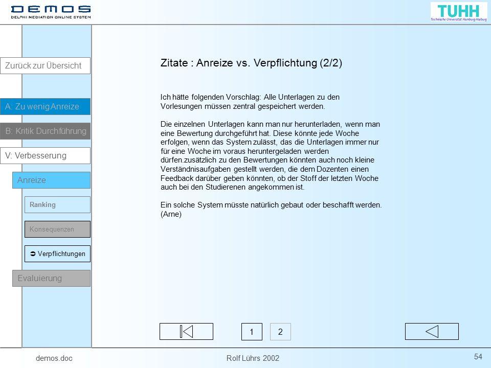 demos.doc Rolf Lührs 2002 54 Ich hätte folgenden Vorschlag: Alle Unterlagen zu den Vorlesungen müssen zentral gespeichert werden. Die einzelnen Unterl