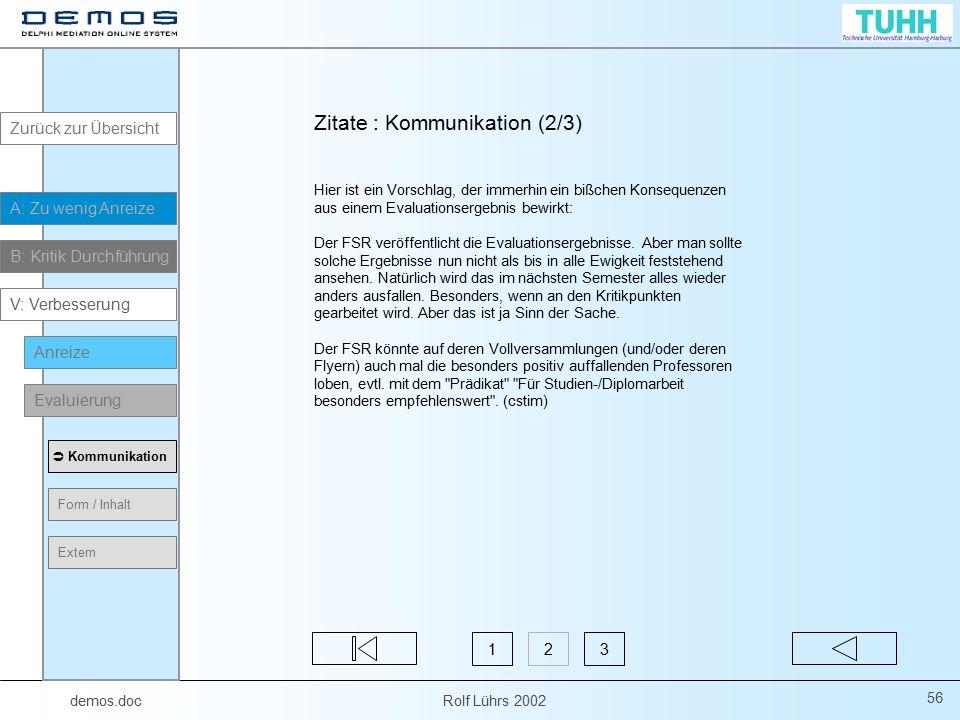 demos.doc Rolf Lührs 2002 56 Hier ist ein Vorschlag, der immerhin ein bißchen Konsequenzen aus einem Evaluationsergebnis bewirkt: Der FSR veröffentlic