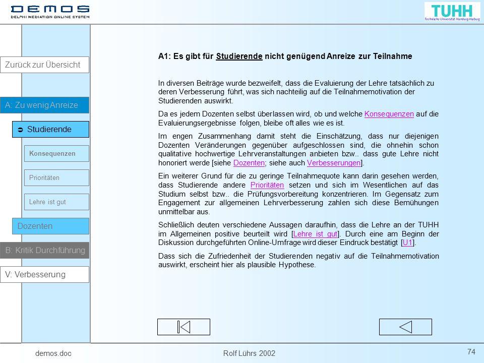 demos.doc Rolf Lührs 2002 74 A1: Es gibt für Studierende nicht genügend Anreize zur Teilnahme In diversen Beiträge wurde bezweifelt, dass die Evaluier