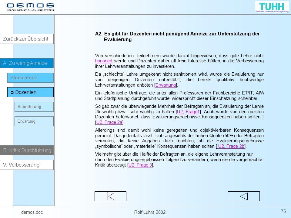 demos.doc Rolf Lührs 2002 75 A2: Es gibt für Dozenten nicht genügend Anreize zur Unterstützung der Evaluierung Von verschiedenen Teilnehmern wurde dar
