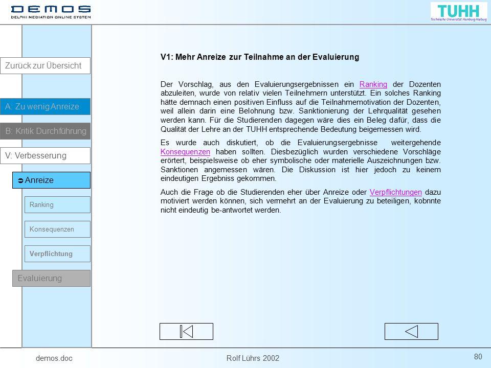demos.doc Rolf Lührs 2002 80 V1: Mehr Anreize zur Teilnahme an der Evaluierung Der Vorschlag, aus den Evaluierungsergebnissen ein Ranking der Dozenten