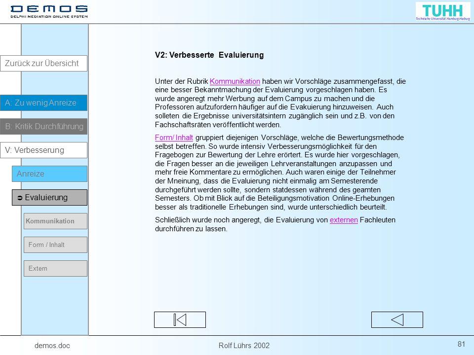 demos.doc Rolf Lührs 2002 81 V2: Verbesserte Evaluierung Unter der Rubrik Kommunikation haben wir Vorschläge zusammengefasst, die eine besser Bekanntm