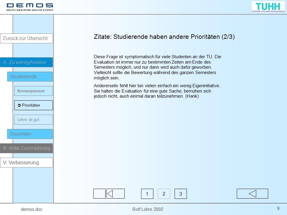 demos.doc Rolf Lührs 2002 80 V1: Mehr Anreize zur Teilnahme an der Evaluierung Der Vorschlag, aus den Evaluierungsergebnissen ein Ranking der Dozenten abzuleiten, wurde von relativ vielen Teilnehmern unterstützt.