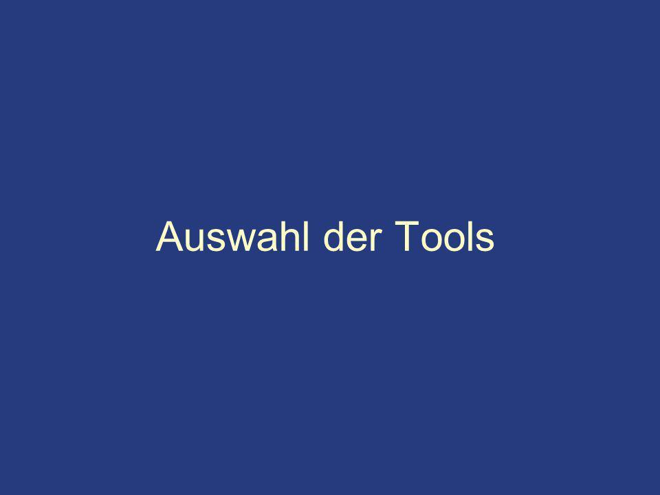 Auswahl der Tools