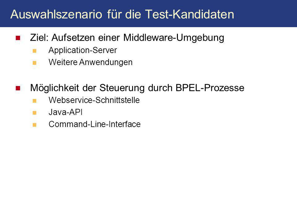 Auswahlszenario für die Test-Kandidaten Ziel: Aufsetzen einer Middleware-Umgebung Application-Server Weitere Anwendungen Möglichkeit der Steuerung durch BPEL-Prozesse Webservice-Schnittstelle Java-API Command-Line-Interface