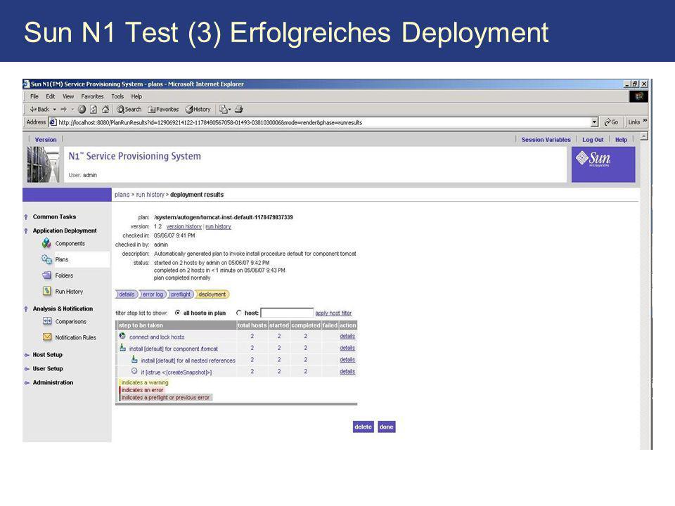 Sun N1 Test (3) Erfolgreiches Deployment
