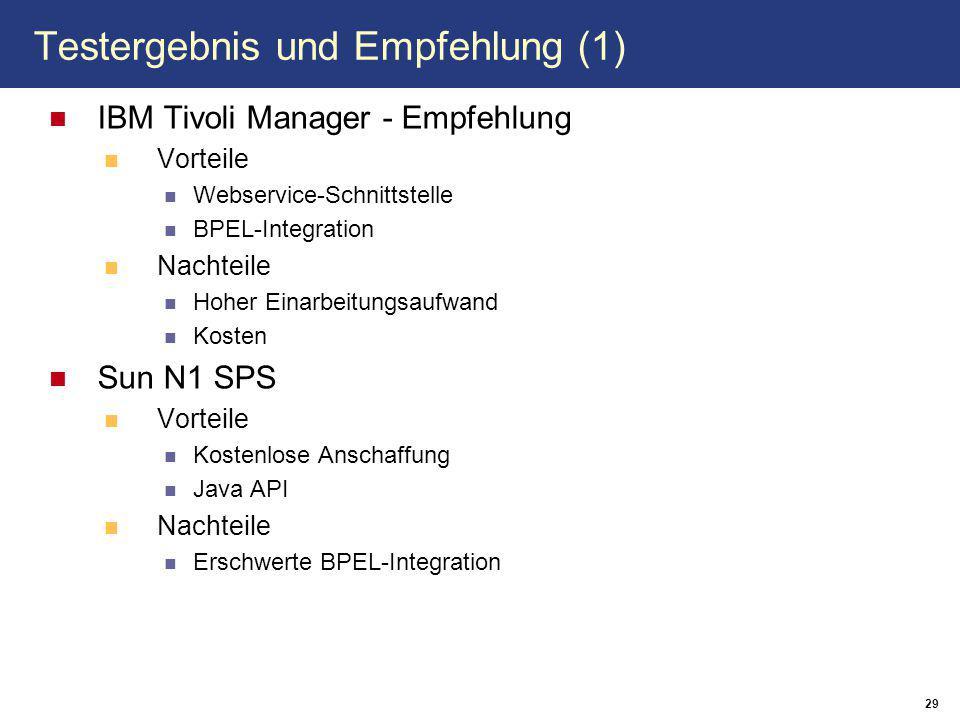 29 Testergebnis und Empfehlung (1) IBM Tivoli Manager - Empfehlung Vorteile Webservice-Schnittstelle BPEL-Integration Nachteile Hoher Einarbeitungsaufwand Kosten Sun N1 SPS Vorteile Kostenlose Anschaffung Java API Nachteile Erschwerte BPEL-Integration