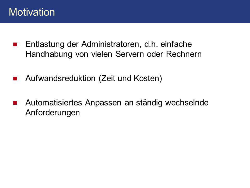 Motivation Entlastung der Administratoren, d.h.