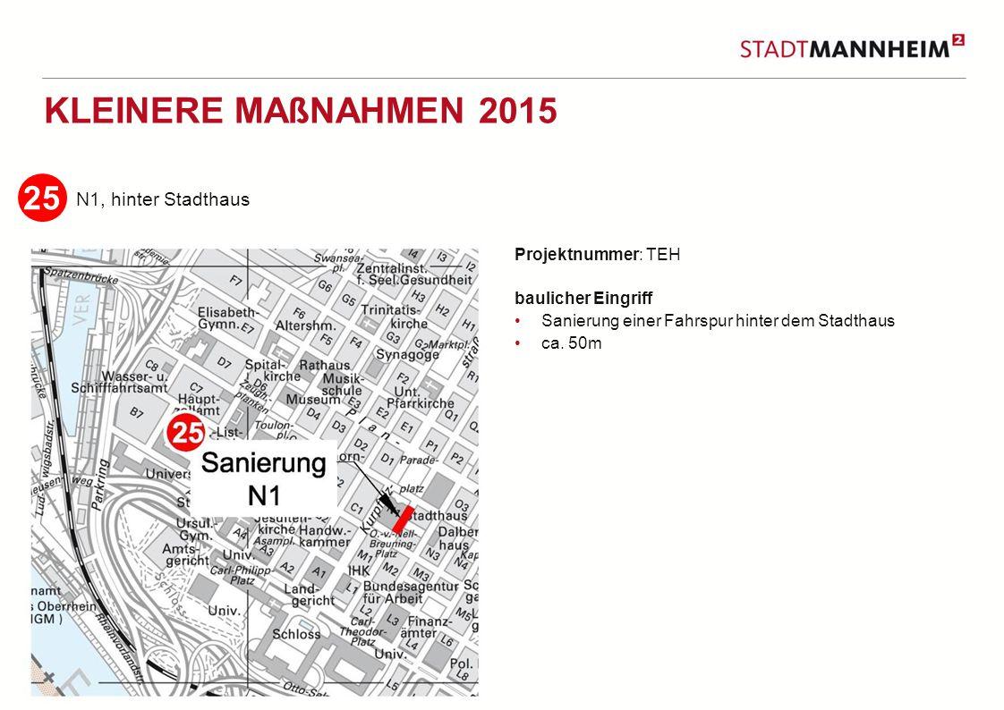 4 2 KLEINERE MAßNAHMEN 2015 Augustaanlage Projektnummer: TEH baulicher Eingriff Sanierung der linken Fahrspur Höhe des Kunstverein Länge ca.