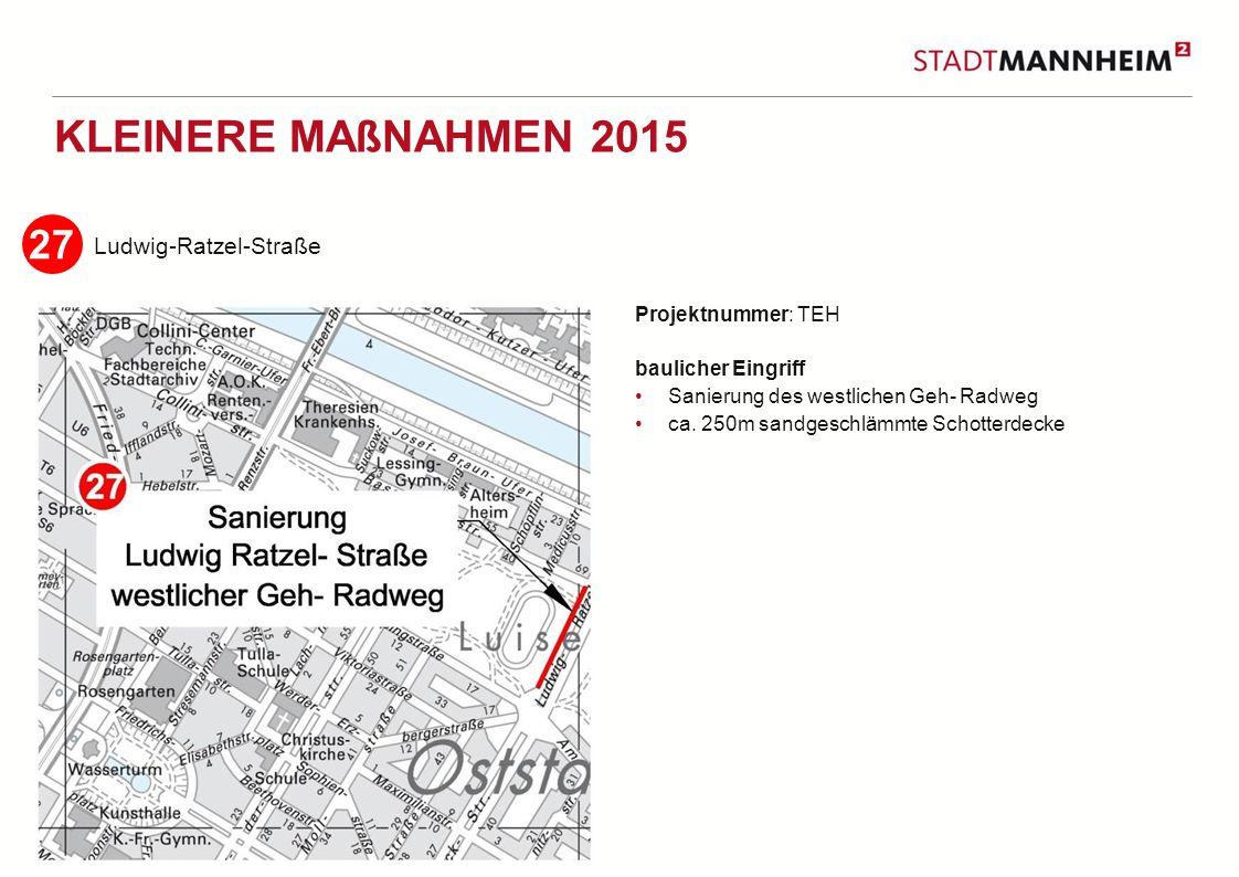 5 2 KLEINERE MAßNAHMEN 2015 Ludwig-Ratzel-Straße Projektnummer: TEH baulicher Eingriff Sanierung des westlichen Geh- Radweg ca.