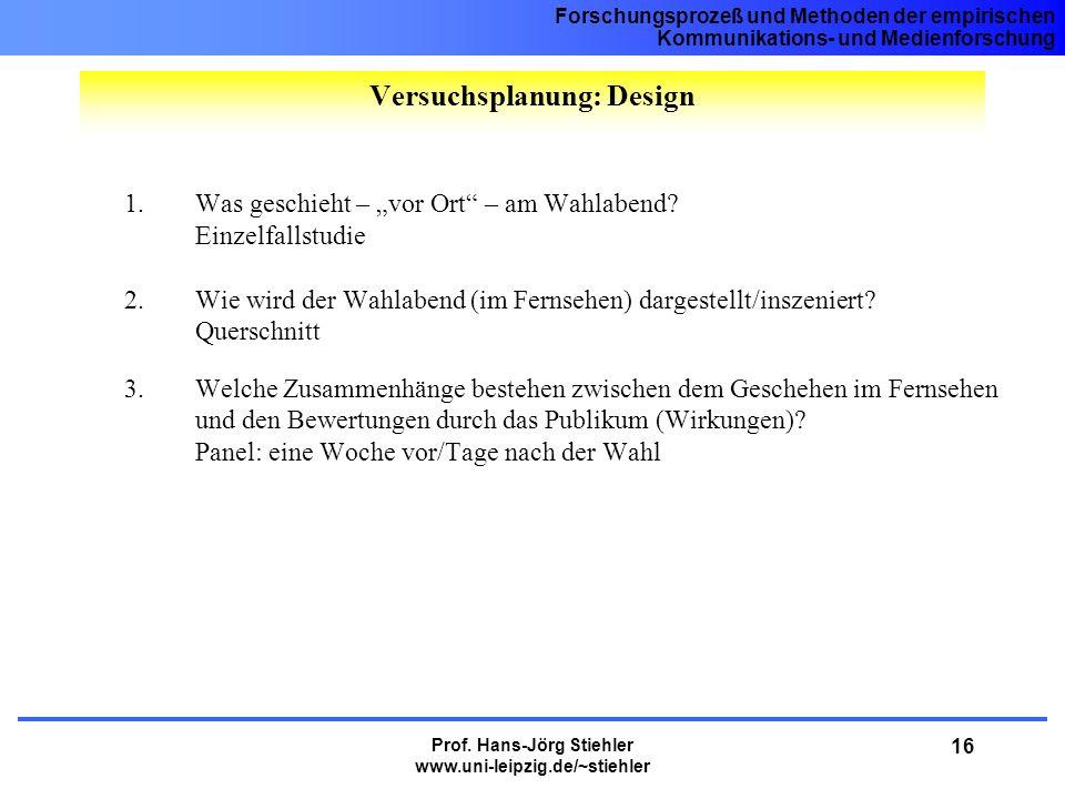 Forschungsprozeß und Methoden der empirischen Kommunikations- und Medienforschung Prof. Hans-Jörg Stiehler www.uni-leipzig.de/~stiehler 16 1.Was gesch
