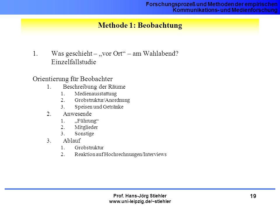 Forschungsprozeß und Methoden der empirischen Kommunikations- und Medienforschung Prof. Hans-Jörg Stiehler www.uni-leipzig.de/~stiehler 19 1.Was gesch