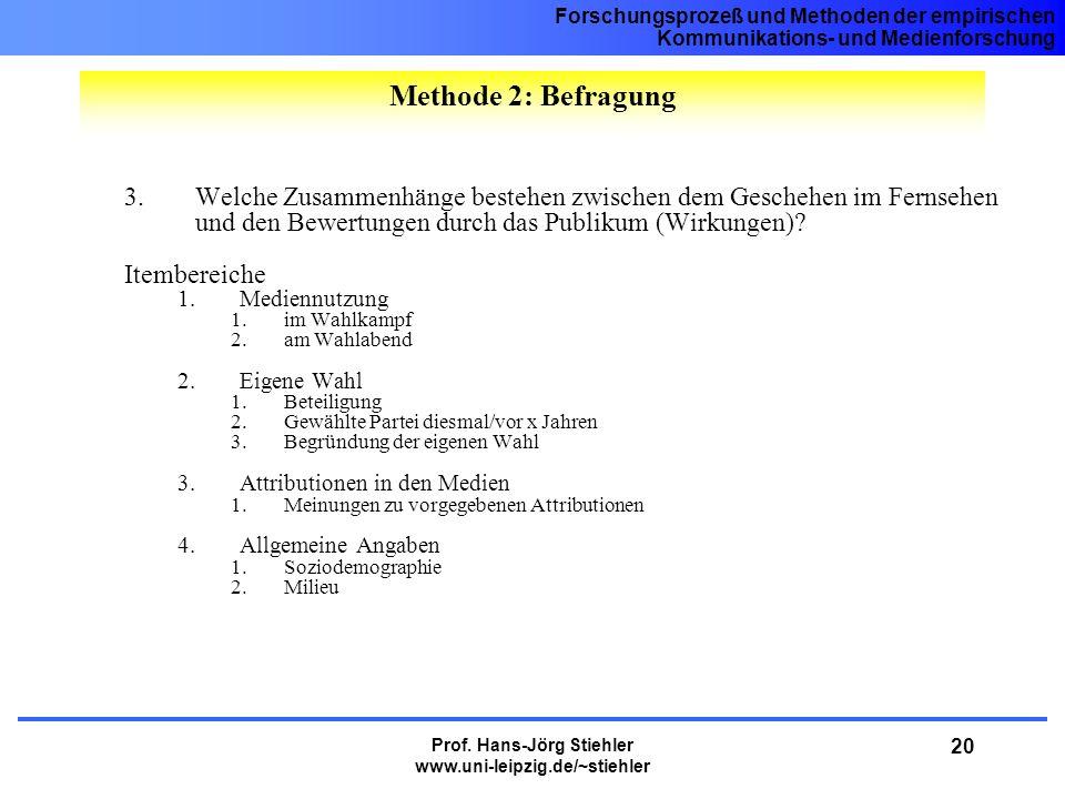 Forschungsprozeß und Methoden der empirischen Kommunikations- und Medienforschung Prof. Hans-Jörg Stiehler www.uni-leipzig.de/~stiehler 20 3.Welche Zu