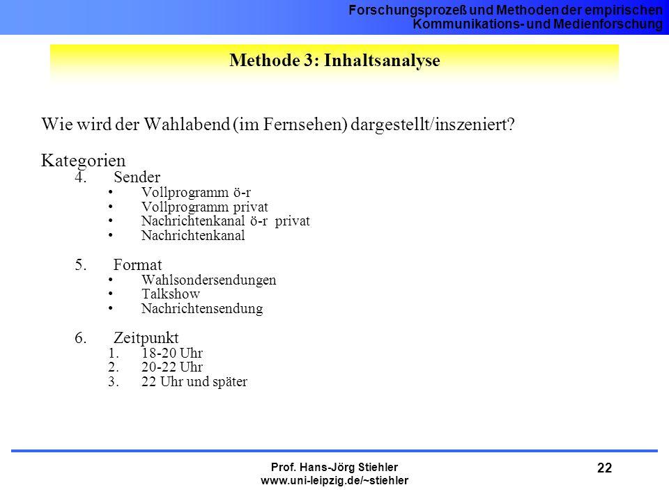 Forschungsprozeß und Methoden der empirischen Kommunikations- und Medienforschung Prof. Hans-Jörg Stiehler www.uni-leipzig.de/~stiehler 22 Wie wird de