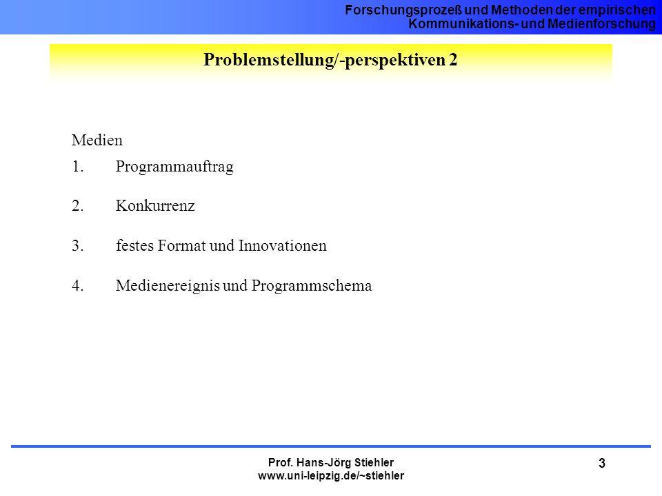 Forschungsprozeß und Methoden der empirischen Kommunikations- und Medienforschung Prof. Hans-Jörg Stiehler www.uni-leipzig.de/~stiehler 3 Medien 1.Pro