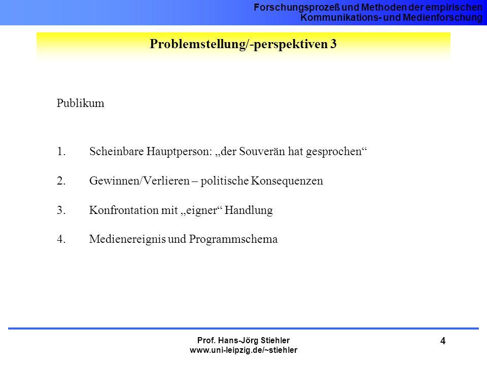 Forschungsprozeß und Methoden der empirischen Kommunikations- und Medienforschung Prof. Hans-Jörg Stiehler www.uni-leipzig.de/~stiehler 4 Publikum 1.S