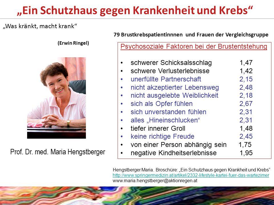 """""""Ein Schutzhaus gegen Krankenheit und Krebs"""" Prof. Dr. med. Maria Hengstberger Psychosoziale Faktoren bei der Brustentstehung schwerer Schicksalsschla"""