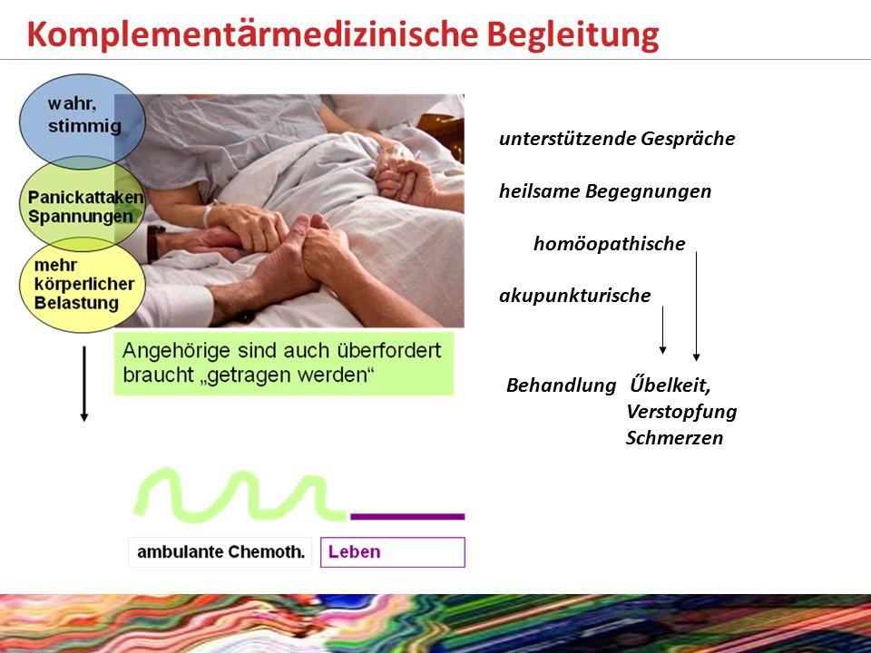 Komplement ä rmedizinische Begleitung unterstützende Gespräche heilsame Begegnungen homöopathische akupunkturische Behandlung Űbelkeit, Verstopfung Schmerzen