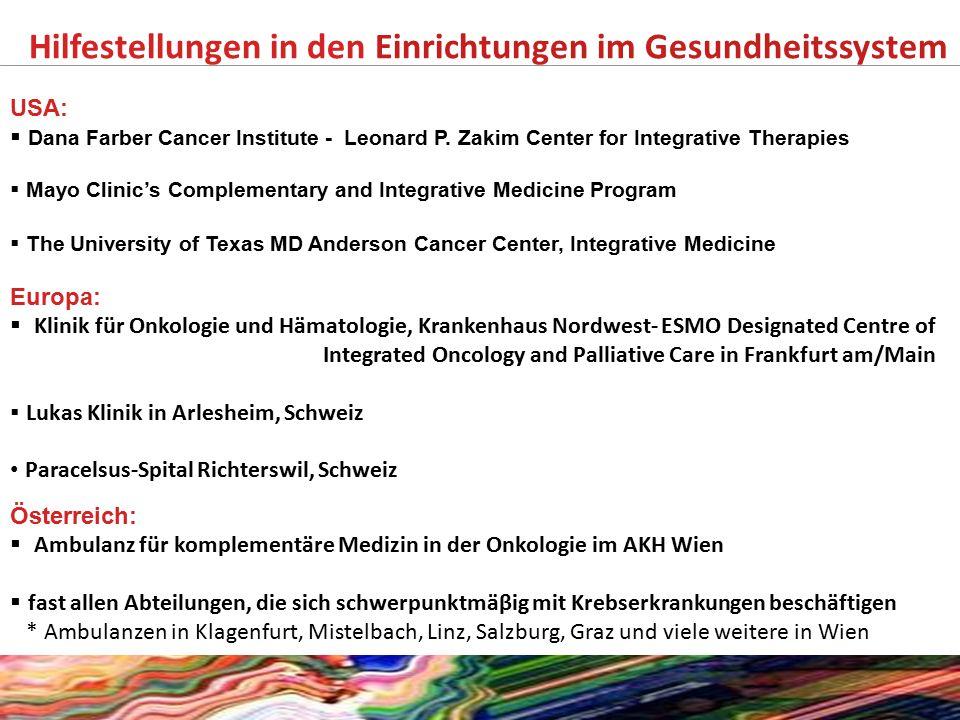 Hilfestellungen in den Einrichtungen im Gesundheitssystem USA:  Dana Farber Cancer Institute - Leonard P. Zakim Center for Integrative Therapies  Ma